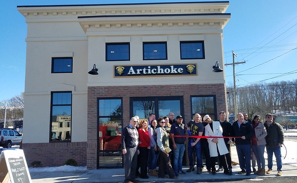 Artichoke Pizza Ribbon Cutting