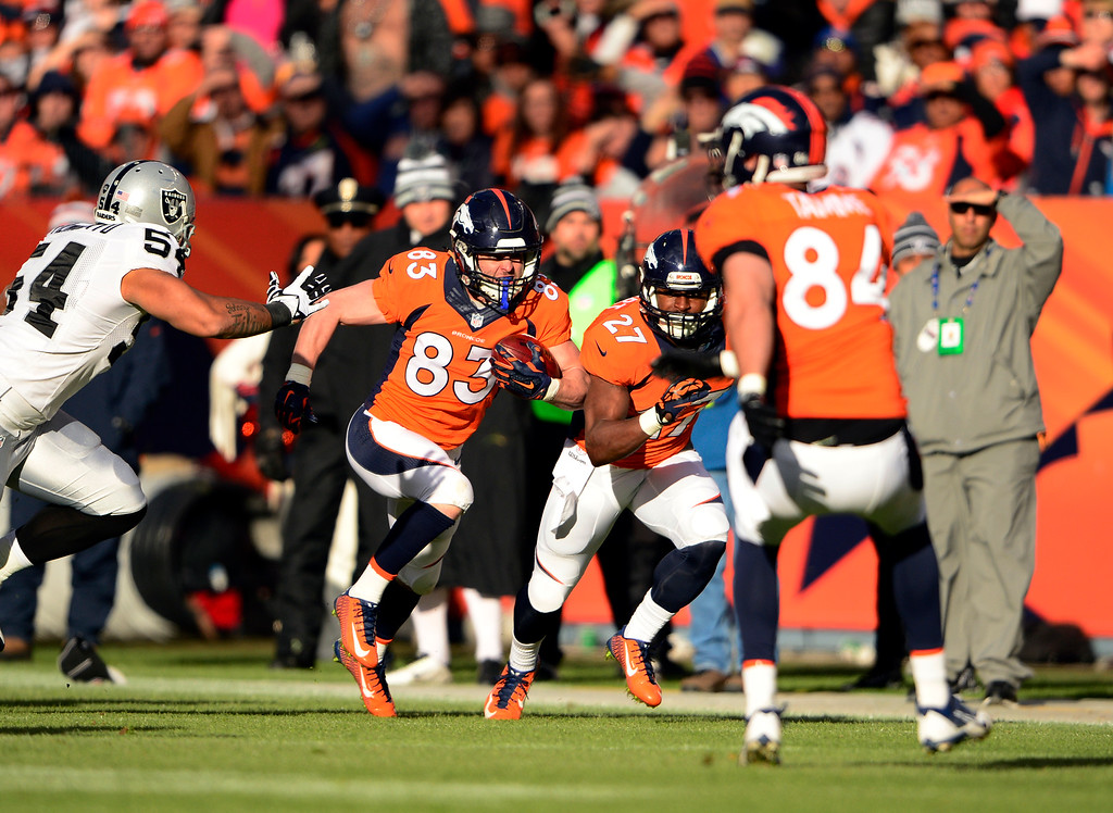 . DENVER, CO - DECEMBER 28: Wes Welker (83) of the Denver Broncos runs the ball during a punt return in the first quarter.  The Denver Broncos played the Oakland Raiders at Sports Authority Field at Mile High in Denver on December, 28 2014. (Photo by Joe Amon/The Denver Post)