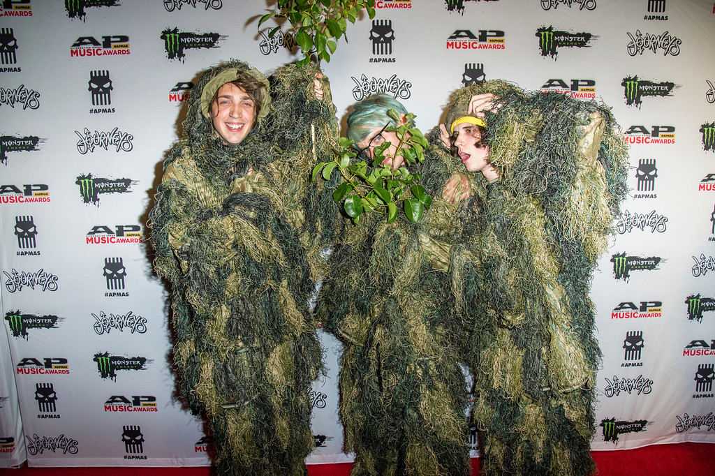 . Otto Wood, from left, Awsten Knight and Geoff Wigington of Waterparks seen at 2017 Alternative Press Music Awards at the KeyBank State Theatre on Monday, July 17, 2017, in Cleveland. (Photo by Amy Harris/Invision/AP)