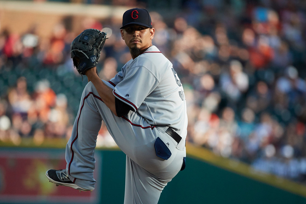 . Cleveland Indians starting pitcher Carlos Carrasco throws during the first inning against the Detroit Tigers in the second baseball game of a doubleheader in Detroit, Saturday, July 1, 2017. (AP Photo/Rick Osentoski)