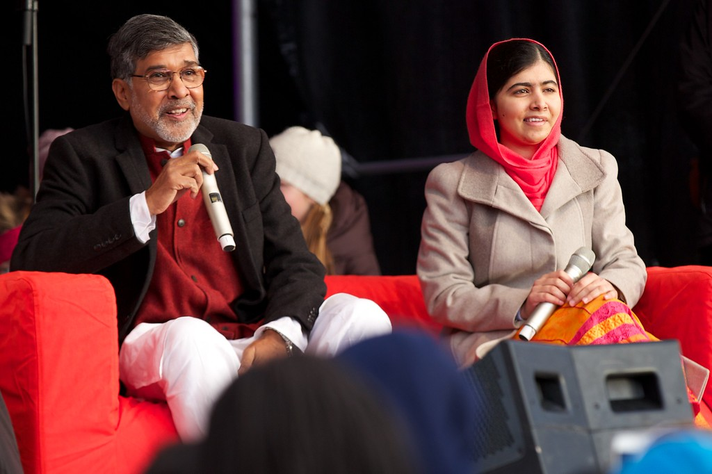 . OSLO, NORWAY - DECEMBER 10: The Nobel Peace Prize 2014 Laureates Kailash Satyarthi (L) and Malala Yousafzai attend the Save The Children\'s Peace Prize Festival in Oslo on December 10, 2014 in Oslo, Norway. (Photo by Ragnar Singsaas/Getty Images)