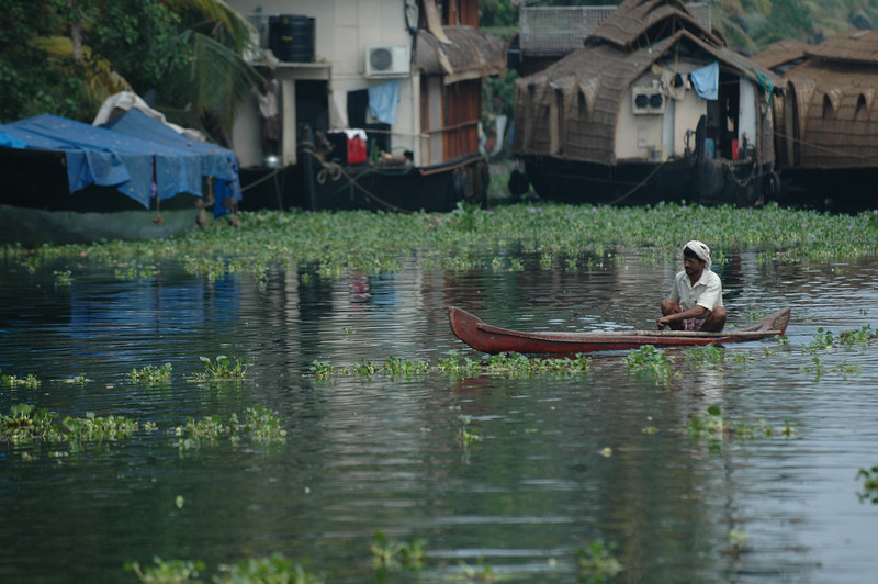 A fisherman paddles along the backwaters in Alleppey