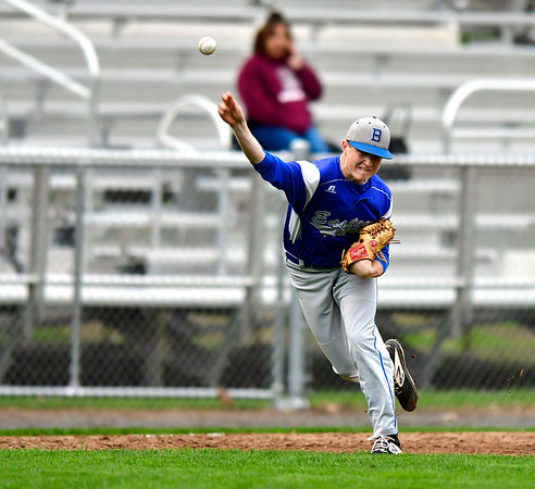 5/1/2019 Mike Orazzi | Staff Bristol Eastern's Jack Kozikowski (11) at Muzzy Field Wednesday evening.