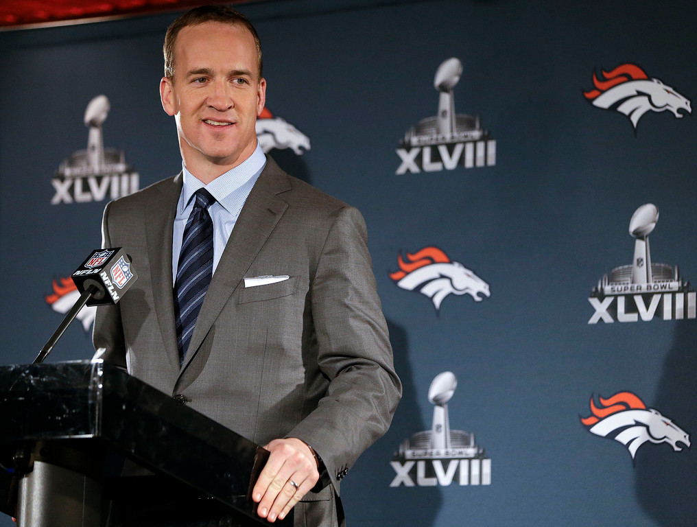 . Denver Broncos quarterback Peyton Manning talks with reporters during a news conference Sunday, Jan. 26, 2014, in Jersey City, N.J. The Broncos are scheduled to play the Seattle Seahawks in the NFL Super Bowl XLVIII football game Sunday, Feb. 2, in East Rutherford, N.J. (AP Photo/Mark Humphrey)