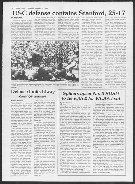 Daily Trojan, Vol. 91, No. 33, October 19, 1981