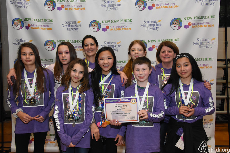 3rd place. 130-85331 ,Amherst DI, The Gabby Gang, Amherst, NH, Scientific Challenge- Medical Mystery , Middle Level
