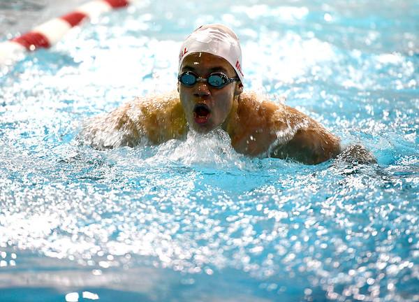2/19/2019 Mike Orazzi | Staff Bristol Swim Team's Kurt Miskell during Tuesday's meet with Middletown in Bristol.