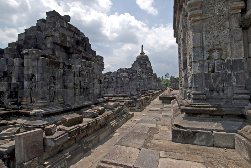 Wall carvings inside the ruins of Prambanan in Java, Indonesia