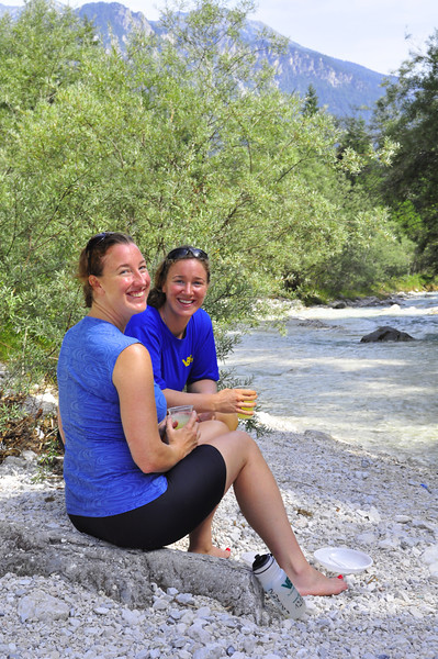 Lauren and Ashley down by the river near Mojstrana lunch stop