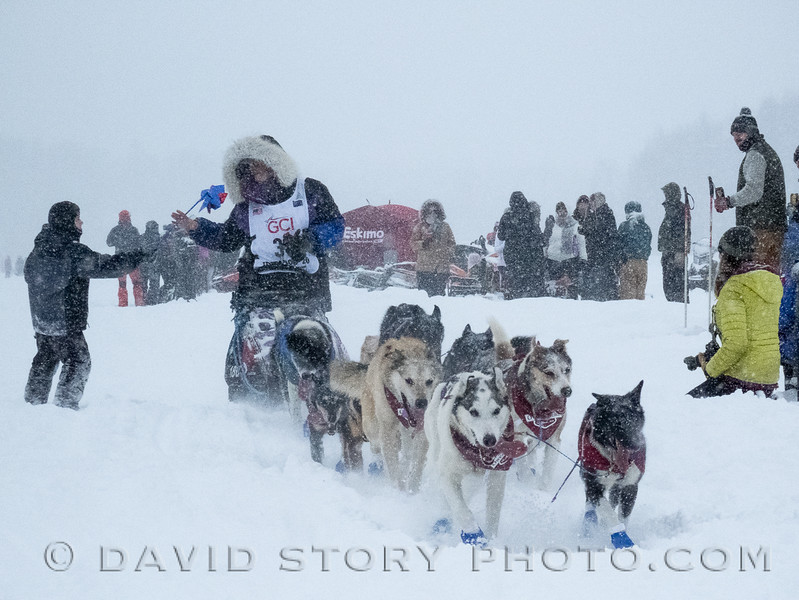 2020 03 08: Jessie Royer of Fairbanks, AK accepts a pinwheel from a fan near the start of the 2020 Iditarod. Willow, AK.