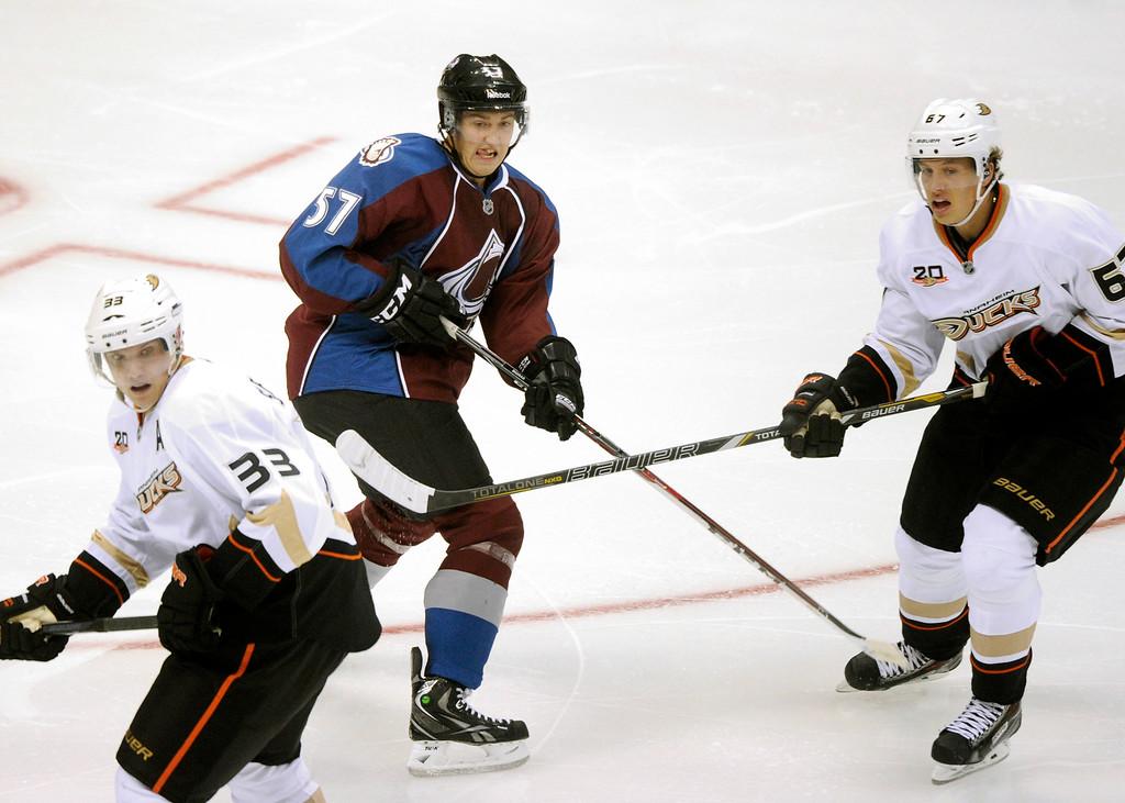 . Colorado defenseman Chris Bigras (57) skated into position Wednesday night.  Photo By Karl Gehring/The Denver Post