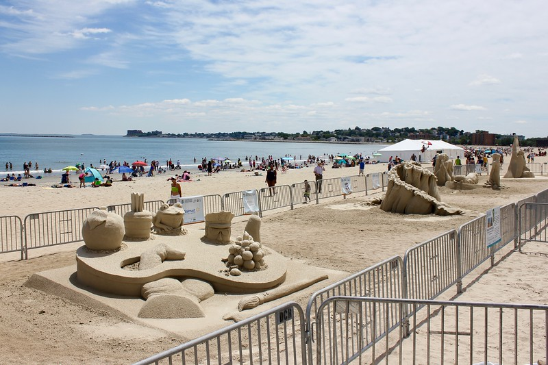 line of sculptures at Revere Beach international sand sculpting festival