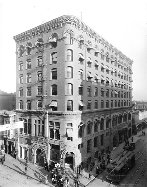 Exterior view of Los Angeles Trust Company building, Spring Street and Second Street, ca.1900-1909