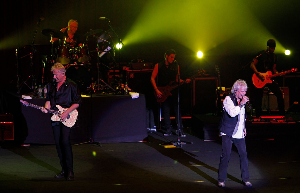 . Australian soft rock duo Air Supply performs at a concert in Kuala Lumpur, Malaysia, Saturday, Aug. 17, 2013. Air Supply will perform July 15 at the Hard Rock Rocksino at Northfield Park. For more information, visit hrrocksinonorthfieldpark.com.  (AP Photo/Lai Seng Sin)