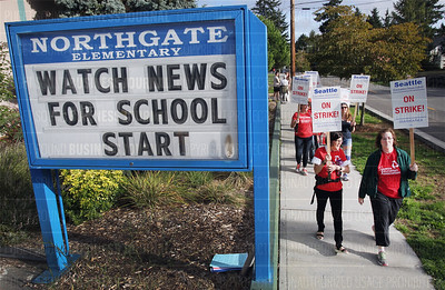 Seattle Public School District teachers go on strike and walk the picketline for the first day