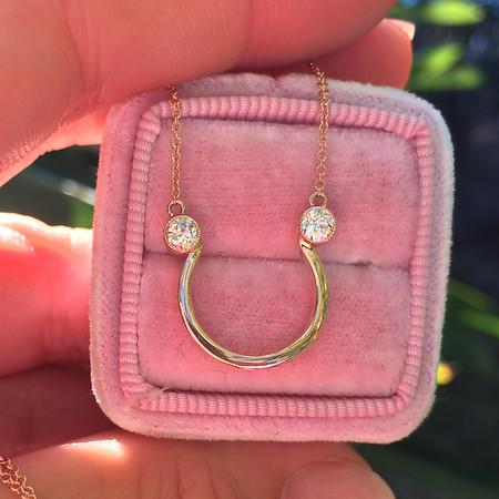 .32ctw Old European Cut Diamond Horsehoe Pendant
