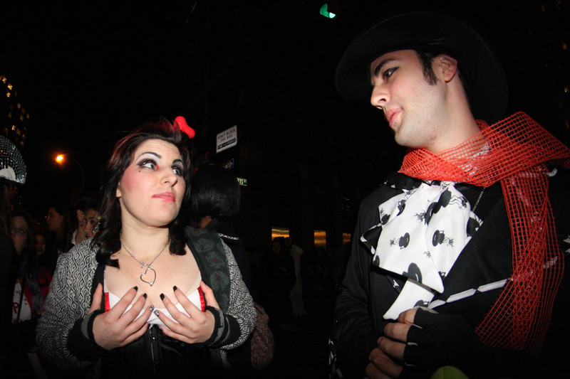Her boobs were cold. Halloween in New York City.