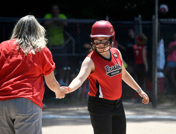 6/16/2018 Mike Orazzi | Staff Freedom's Kaylynne Yorkhill (1) during the city softball series Saturday in Bristol.