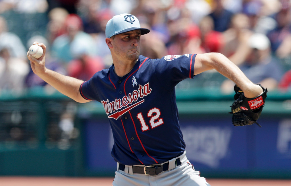 . Minnesota Twins starting pitcher Jake Odorizzi delivers in the first inning of a baseball game against the Cleveland Indians, Sunday, June 17, 2018, in Cleveland. (AP Photo/Tony Dejak)