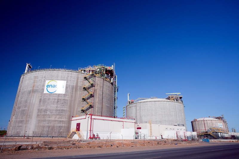 Facilities of Enagas regasification plant. Enagas is a Spanish company which involves in the regasification, storage, and transportation of natural gas. Chemical center, town of Huelva, Andalusia, southwestern Spain
