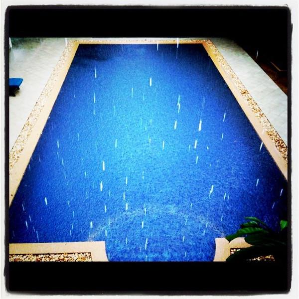 Downpour, poolside