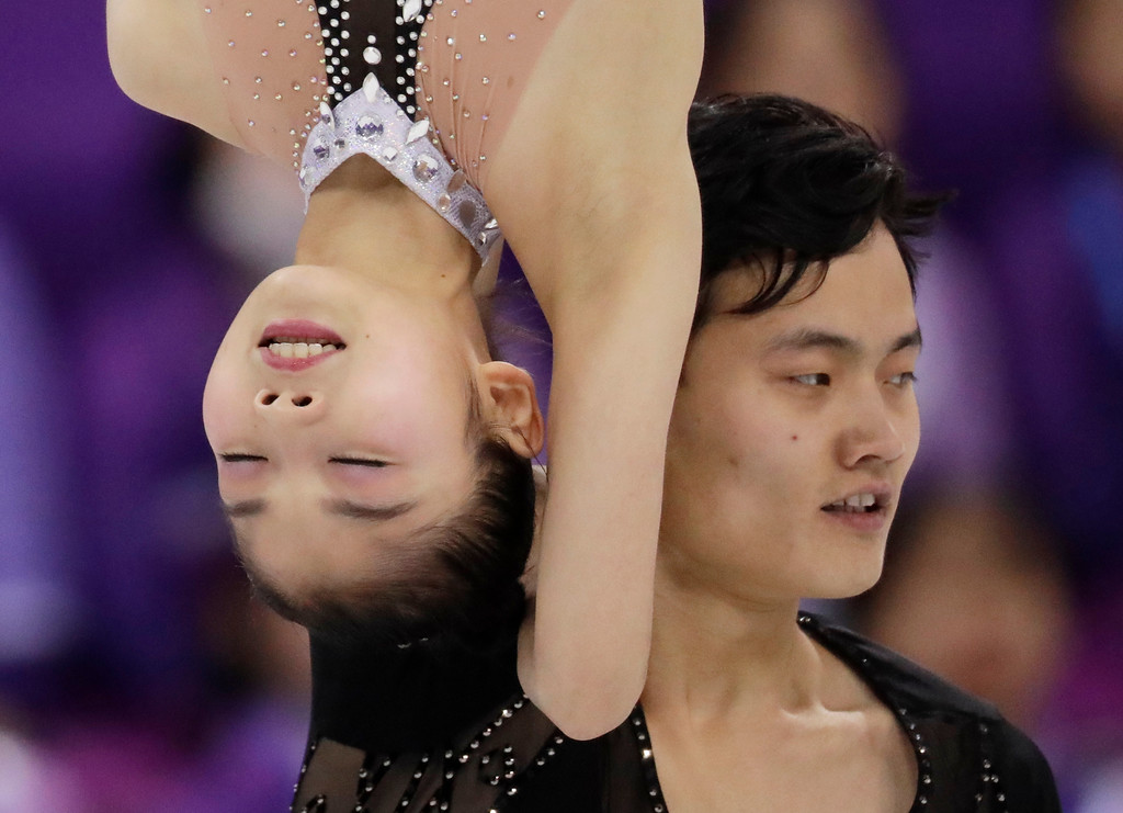 . Ryom Tae Ok and Kim Ju Sik of North Korea perform in the pairs free skate figure skating final in the Gangneung Ice Arena at the 2018 Winter Olympics in Gangneung, South Korea, Thursday, Feb. 15, 2018. (AP Photo/Bernat Armangue)