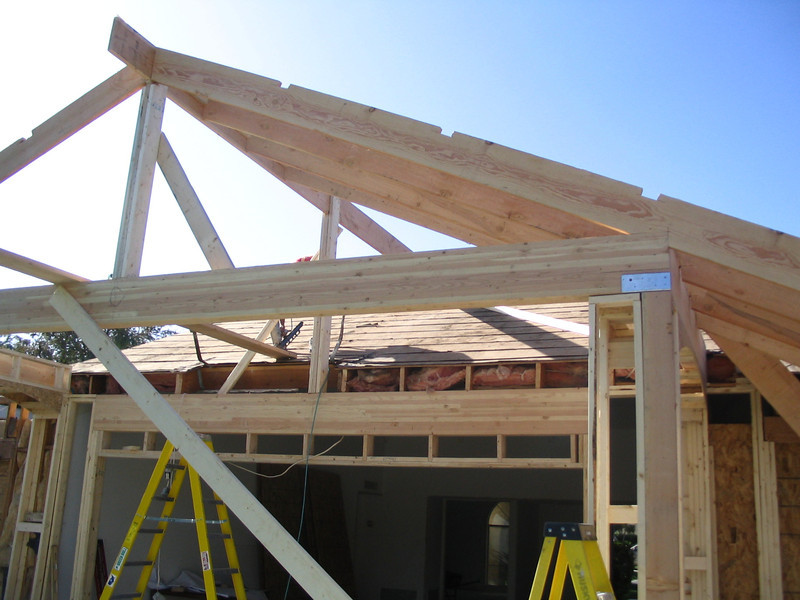 Roof trusses going in.