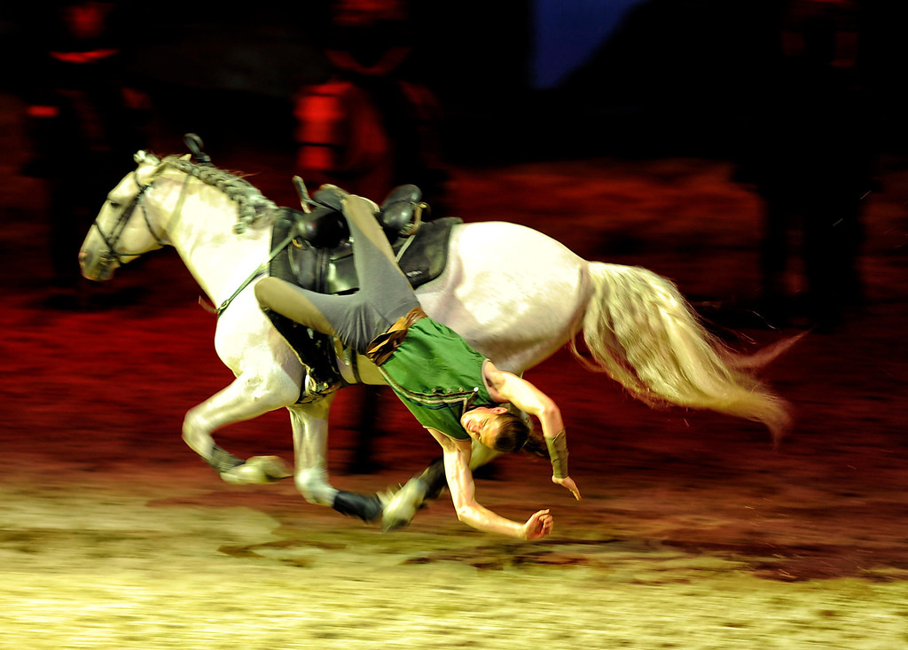 . People get a chance to see  Cavalia\'s Odysseo equestrian and aerial acrobatic show during a 60-minute sneak preview under a 10-story high tent in Burbank Tuesday, February 26, 2013. (Hans Gutknecht/Staff Photograpehr)