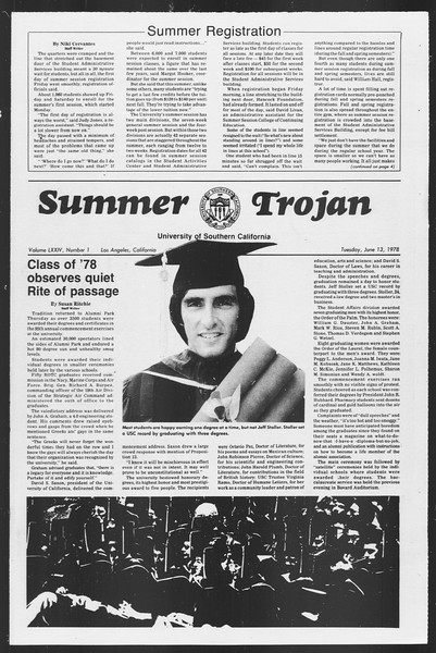 Summer Trojan, Vol. 74, No. 1, June 13, 1978