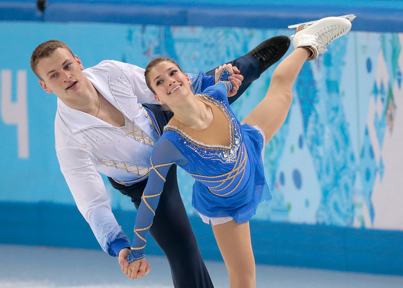 . Andrea Davidovich and Evgeni Krasnopolski of Israel compete in the pairs free skate figure skating competition at the Iceberg Skating Palace during the 2014 Winter Olympics, Wednesday, Feb. 12, 2014, in Sochi, Russia. (AP Photo/Ivan Sekretarev)