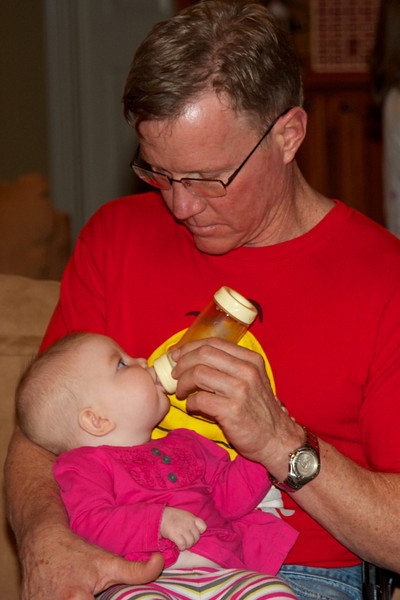Mommy's hands were full, so PawPaw stepped in