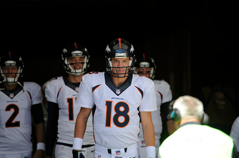 . Denver Broncos quarterback Peyton Manning (18) heads out for pre game before their game against the San Francisco 49ers August 17, 2014 at Levi\'s Stadium. (Photo by John Leyba/The Denver Post)
