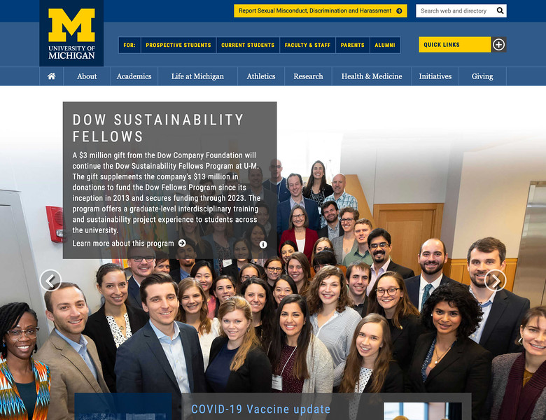 The Dow Sustainability Fellows pose for a group photo during one of their conferences at the University of Michigan.  (Photo by Mark Bialek).