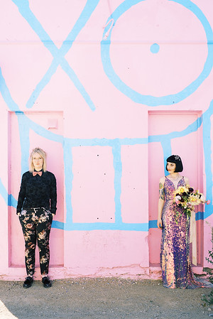colorful, artistic - SUNRISE LAS VEGAS ELOPEMENT - sequin gown and floral suit