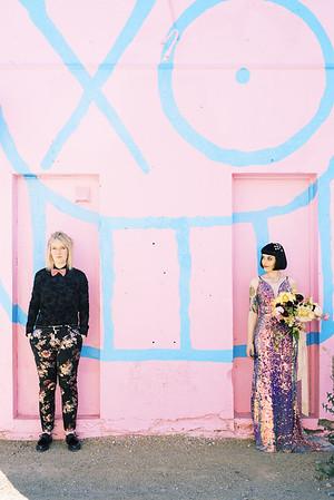 colorful, artistic - SUNRISE LAS VEGAS ELOPEMENT - sequin gown and floral suit