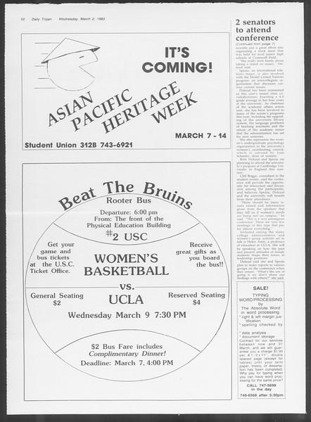 Daily Trojan, Vol. 93, No. 34, March 02, 1983