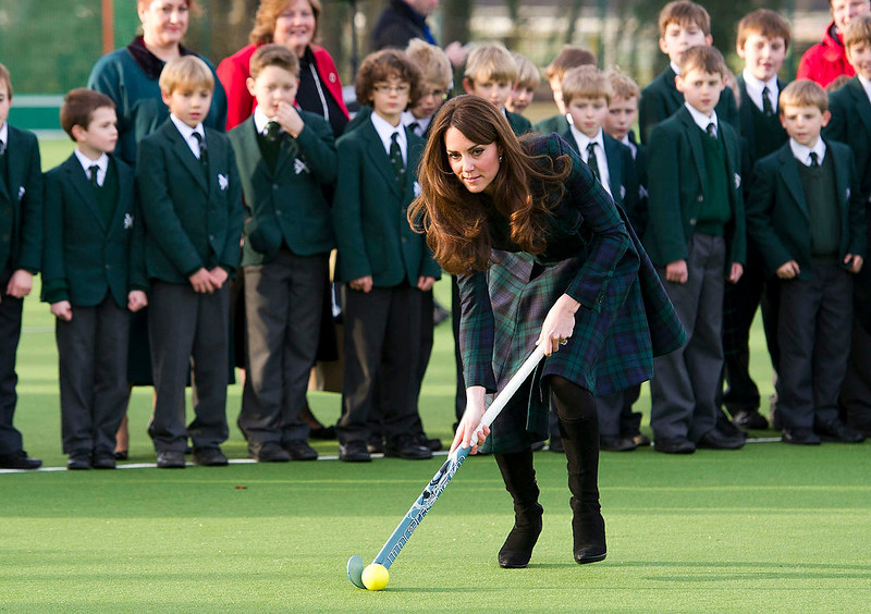 ". Kate, the Duchess of Cambridge plays hockey during her visit to St. Andrew\'s School, where she  attended school from 1986 till 1995, in Pangbourne, England, Friday, Nov. 30, 2012. The Duchess of Cambridge has gone back to school. The royal, formerly known as Kate Middleton, played hockey and revealed her childhood nickname - Squeak - when she returned to her elementary school for a visit Friday. Kate told teachers and students at the private St. Andrew\'s School in southern England that her 10 years there were ""some of my happiest years.\"" She said that she enjoyed it so much that she had told her mother she wanted to return as a teacher. (AP Photo/Arthur Edwards)"