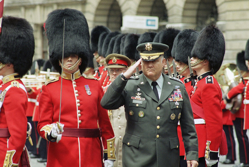 . U.S. Army General H. Norman Schwarzkopf commander of coalition forces during the Gulf War, salutes while inspecting an honor guard from the 1st Battalion of the Coldstream Guards, all 52 members of which served in Operation Desert Storm in London on Thursday, July 25, 1991. (AP Photo/Nigel Marple)