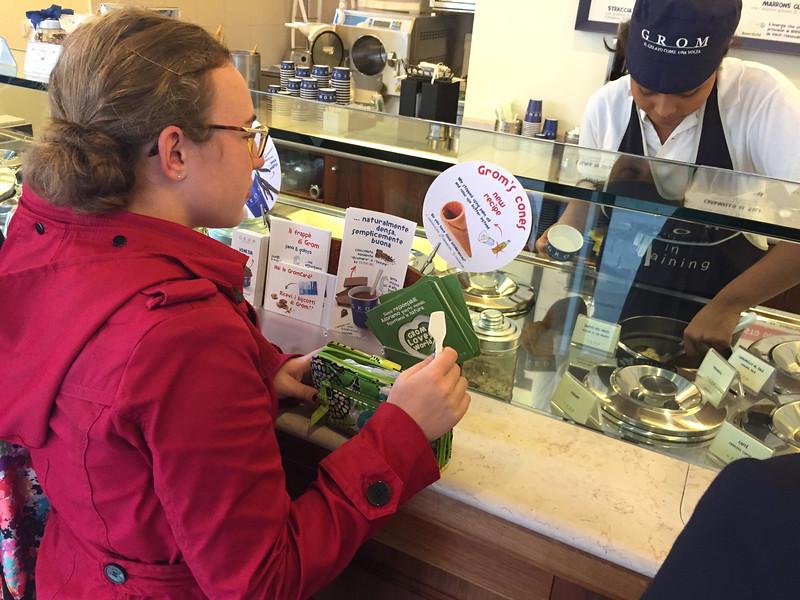 Samantha ordering some gelato in Venice