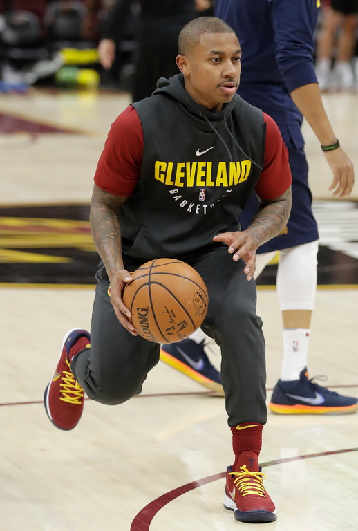 . Cleveland Cavaliers\' Isaiah Thomas warms up before an NBA basketball game between the Portland Trail Blazers and the Cleveland Cavaliers, Tuesday, Jan. 2, 2018, in Cleveland. (AP Photo/Tony Dejak)
