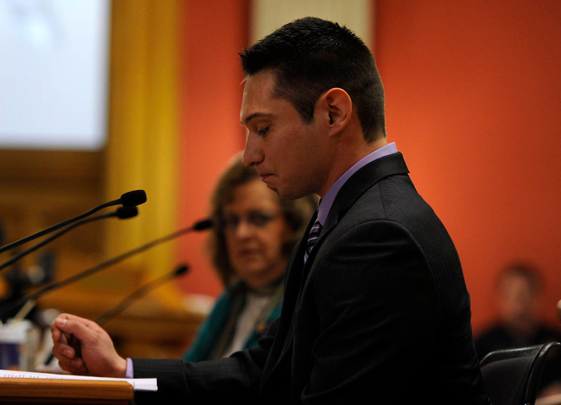 . Aaron Francois, right, testifies before the Senate Judiciary Committee in support of Senate Bill 197 telling the story of his mother losing her life to gun violence last year. Testimony begins in front of the Senate Judiciary Committee at the state Capitol for Senate Bill 197 and House Bill 1224. (Photo By Kathryn Scott Osler/The Denver Post)