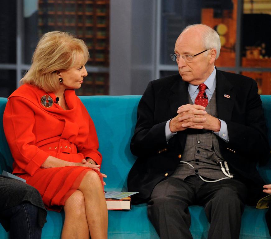 ". In this image released by ABC, former Vice President Dick Cheney, right, speaks with Barbara Walters on the daytime talk show ""The View,\"" Tuesday, Sept. 13, 2011, in New York. Cheney appeared to promote his book, \""In My Time.\"" (AP Photo/ABC, Donna Svennevik)"