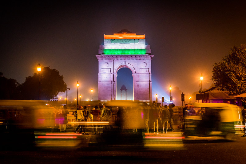 December 2018, India Gate at night with India flag projected on it, New Delhi, India