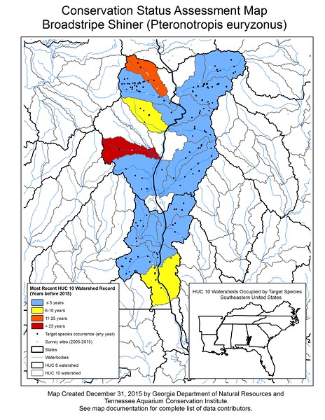 Conservation Status Assessment Map for Broadstripe Shiner (Pteronotropis euryzonus)