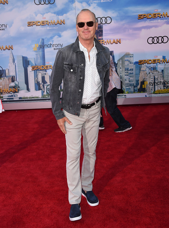 """. Michael Keaton arrives at the Los Angeles premiere of \""""Spider-Man: Homecoming\"""" at the TCL Chinese Theatre on Wednesday, June 28, 2017. (Photo by Jordan Strauss/Invision/AP)"""