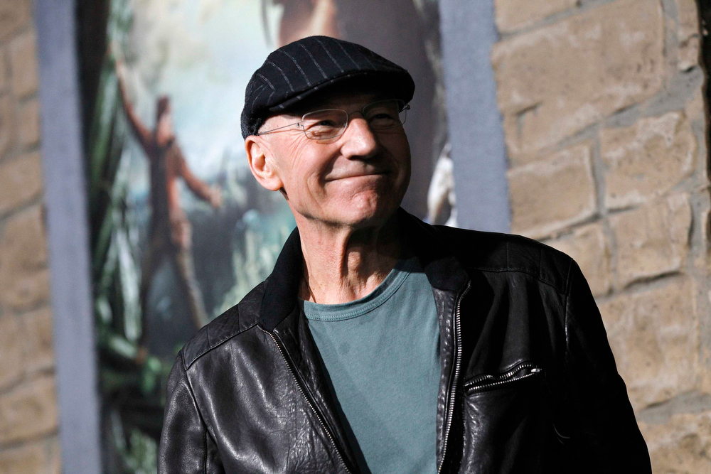 Description of . Actor Patrick Stewart poses at the premiere of