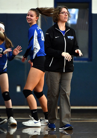 11/16/2019 Mike Orazzi | StaffrBristol Eastern Girls Volleyball Coach Stefanie Reay during the 2019 State Girls Volleyball Tournament Class L Quarterfinals at BEHS in Bristol Saturday.