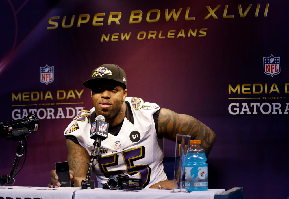 Description of . Baltimore Ravens linebacker Terrell Suggs answers a question during media day for the NFL Super Bowl XLVII football game Tuesday, Jan. 29, 2013, in New Orleans. (AP Photo/Pat Semansky)