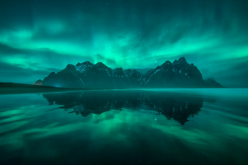 Stokksnes 2 Vestrahorn Aurora Northern Lights reflection Iceland Night Landscape Photography.jpg