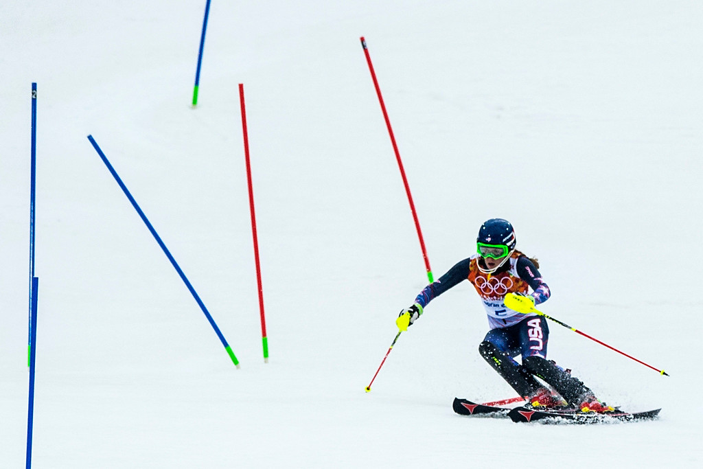 . Mikaela Shiffrin, of Eagle-Vail, Colo., competes in run 1 of the women\'s slalom competition at Rosa Khutor Alpine Center during the 2014 Sochi Olympics Friday February 21, 2014. Shiffrin is currently winning with a time of 52.62. (Photo by Chris Detrick/The Salt Lake Tribune)